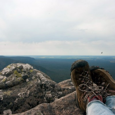 Grampians - boots overlooking the valley views