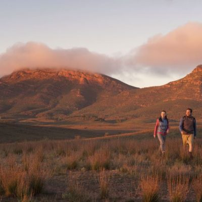 Flinders Ranges Walking Tour with Park Trek - Hikers enjoying Flinders Ranges at dusk