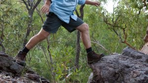 Walking across rocks in the Australian bush