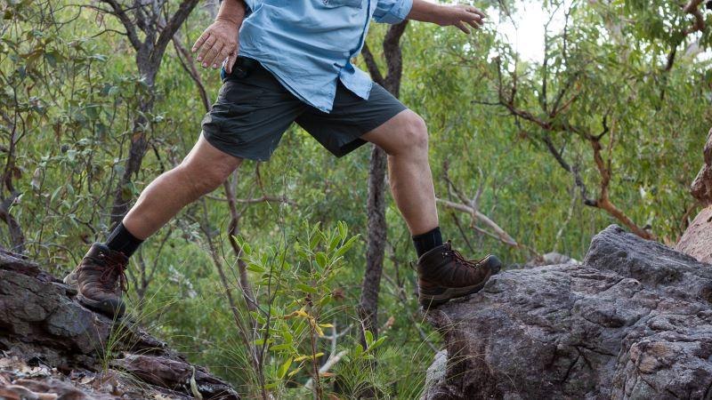 Walking across rocks in the Northern Territory