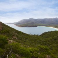 View from the Wineglass Bay walking track | Image courtesy Tourism Tasmania and Adrian Cook