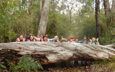 Happy walkers posing for a photo on the Bibbulmun Track, Western Australia