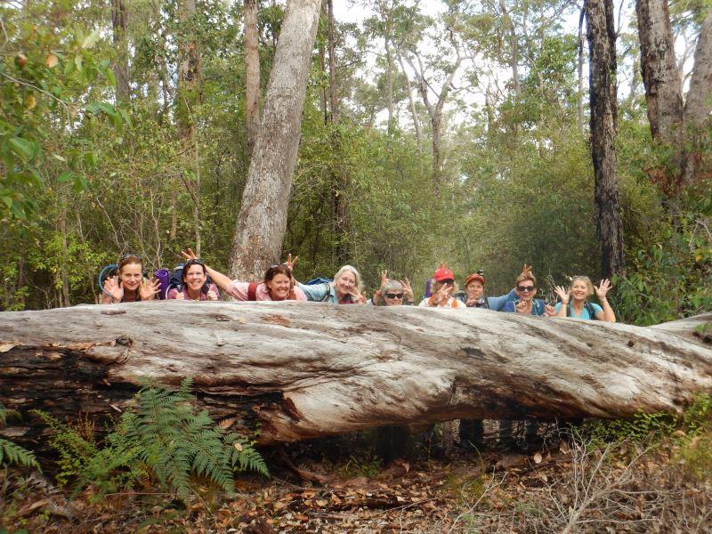 Happy walkers posing for a photo on the Bibbulmun Track, Western Australia